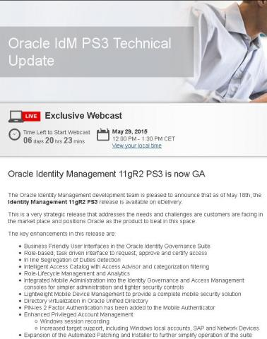 "вебкаст ""Oracle IdM PS3 Technical Update"" по новому релизу Oracle Identity Manager 11gR2 PS3 (11.1.2.3.0)"